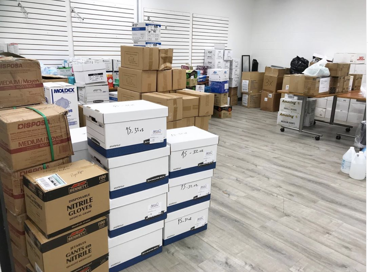 An image of the Humber River Hospital stock room of all PPE that was donated from various sources